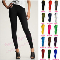 NEW LADIES BASIC ULTRA STRETCH FOOTLESS TIGHTS FULL LENGTH MULTI-COLORS XS S M L