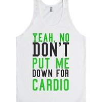 Don't put me down for cardio jersey tank top t shirt-White Tank