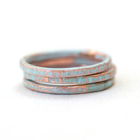 Light Blue Set of 3 Colored Stacking Ring Copper Textured Skinny Teen 1 to 2mm