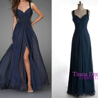 Blue prom dress sequin long prom gown evening dress by TinnaDress