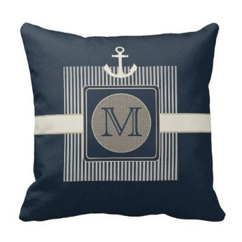 Burlap Effect Nautical Ship's Anchor Monogram Pillows