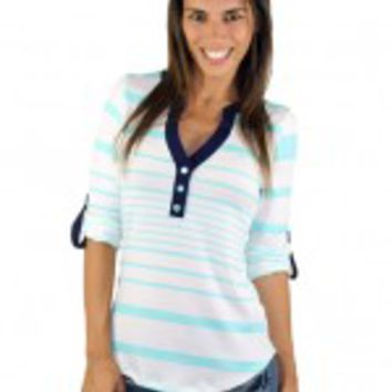 Mint And White V-Neck Striped Top