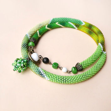 Bead crochet necklace, rope, lariat - Green Yellow White Beadwork Nature