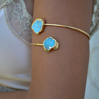 Upper Arm Cuff /// Lux Divine Double Turquoise Gemstone Arm Wrap/// Gold