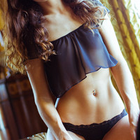 Valentines - Black Lingerie Sheer - Chiffon Crop Top - Large - Color Options
