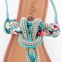 RCK Bella Jeweled And Woven Scarf Thong Sandal - Teal