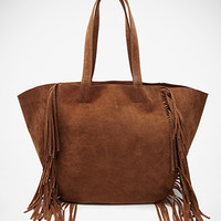Fringed Faux Suede Tote