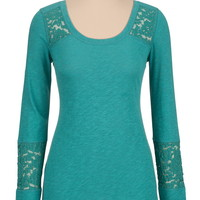 Long Sleeve Scoop Neck Tee With Lace Inset