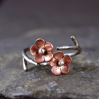 Cherry Blossom Branch Adjustable Ring Spring Jewelry by HapaGirls