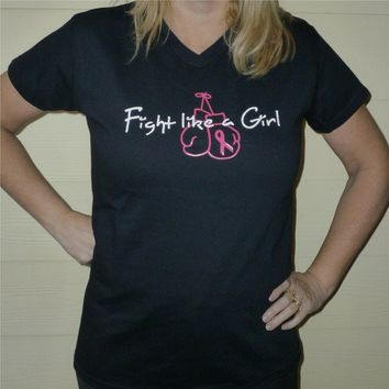 Fight Like a Girl Breast Cancer Awareness tshirt by OodlesDecals
