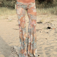 FLORAL PRINT LACE hippie chic boho dance beach resort yoga festival burning man gypsy flare bell bottom pants with shorts liner (optional)