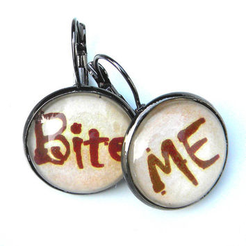 BITE ME  -  Dark Shadows -  Simple Creepy  word earrings with a touch of humor - Blood Red, Glass cabochons, antique brass