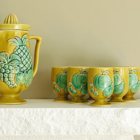 mint green and mustard yellow vintage orange juice by schmoot