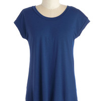 ModCloth Mid-length Short Sleeves For the Coast Part Top in Navy