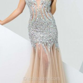 Sequin Tulle Trumpet Prom Gown by Tony Bowls Paris