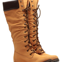 Camel Faux Leather Calf Length Mountain Boots