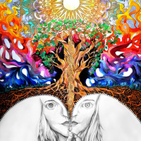 Unzipped Print (Trippy Colorful Psychedelic Multi-layered Self Portrait of Physical Reality and Spirituality with Golden Mandala)