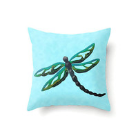 Dragonfly Pillow Cover, aqua pillow cover with black and green dragonfly, novelty pillow in 16 x 16, 18 x 18 or 20 x 20 inch