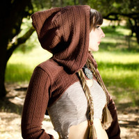 Perfect for Burning Man: The Sweater Knit Hooded Shrug in Nutmeg Brown by Opal Moon Designs (sizes S, M, L, XL)