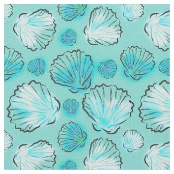 Beach Inspired Fabric|Stylish Teal Clam Shells
