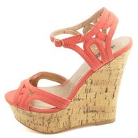 Strappy Cut-Out Peep Toe Wedge Sandals by Charlotte Russe - Coral
