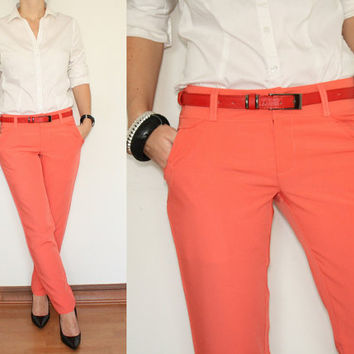 Womens Skinny Pants Ladies Trousers in Coral Pink Office Fashion