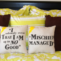 "Harry Potter ""I Solemnly Swear/Mischief Managed"" Maruader's Map Pillow Set - 2 Pillows"