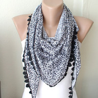 Grey black flower dancing with lace scarf by Periay on Etsy