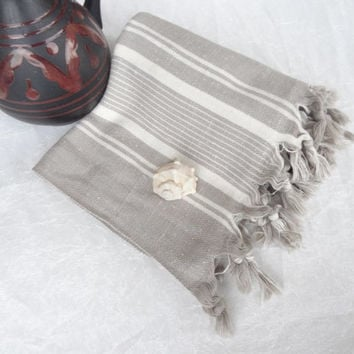 Traditional  Turkish  Peshtemal, Beige, Ecru Striped, peshtemal, Spa,Bath,Beach,,Yoga,Pool,Fitness Towel
