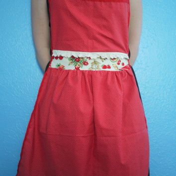 Vintage Inspired Red and White Polka Dot Apron