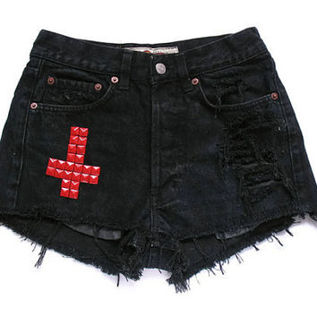 Studded cross shorts XS by deathdiscolovesyou on Etsy