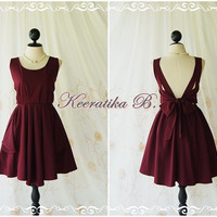 A Party - V Shape Dress  - Cocktail Dress Wedding Bridesmaid Dress Party Prom Dress Backless Dress Homecoming Falu Red Dark Red Dress