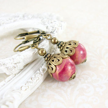 Hand Painted Bead Earrings - Fuchsia Neo Victorian Earrings - Hot Pink Earrings Antique Brass Victorian Inspired Magenta and Bronze Jewelry