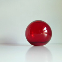 Mid Century Modern Balloon Glass Vase - Ruby Red, Autumn / Fall, Winter - Mad Men, 1960's Home Decor