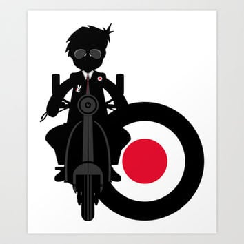 Mod & Retro Scooter Illustration Art Print by markmurphycreative
