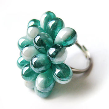 Dark Aquamarine Cluster Berry Ring - Limited Edition - Turquoise Pearl Cocktail Ring - Teal Glass Cluster Ring - Bridemaid Statement ring