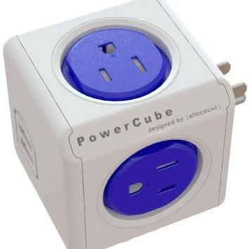 PowerCube Original USB, Electric Outlet Wall Adapter Power Strip with 4 outlets, Dual USB Port and Resettable Fuse PC-4200-USOUPC