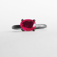1 carat Oval Ruby Solitaire in Sterling or Gold