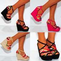 STRAPPY SANDALS MULTI PINK BLACK NUDE PLATFORMS WEDGED WEDGES HIGH HEELS SHOES