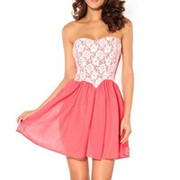 LoveLiness Pink Lace Tube Top Cocktail Clubwear Minidress One Size