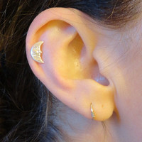 Moon with Face Tragus Piercing Cartilage Helix Earring