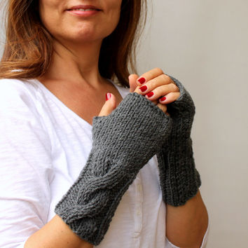 Slate Gray Grey Warm Cable Knitted Fingerless Gloves