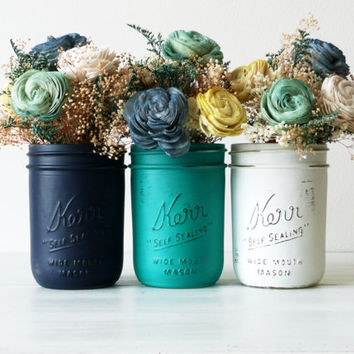 Dorm Decor - Nautical Home Decor Painted Mason Jars - Vase - Pencil Holder
