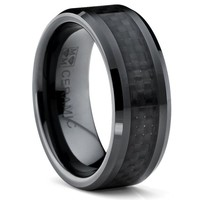 8MM Flat Top Men's Black Ceramic Ring Wedding Band With Black Carbon Fiber Inlay Size 9.5
