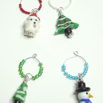 Wine Charms Holiday Set of 4 Snowmen Christmas Trees
