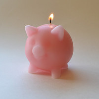 Pink pig candle by GlowliteCandles on Etsy
