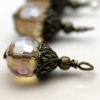 Smokey Topaz Faceted Round Crystal and Brass Bead Drop Earring Dangle Necklace Charm Set
