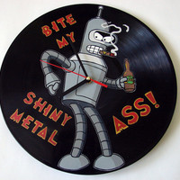 Bender Futurama vinyl record clock