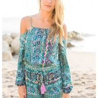 Shelton - Spaghetti strap, cut out shoulder long sleeve print romper. Available in 2 colors.