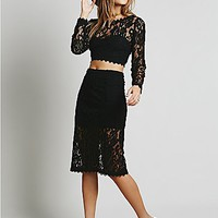 Free People Womens Floral Lace Set